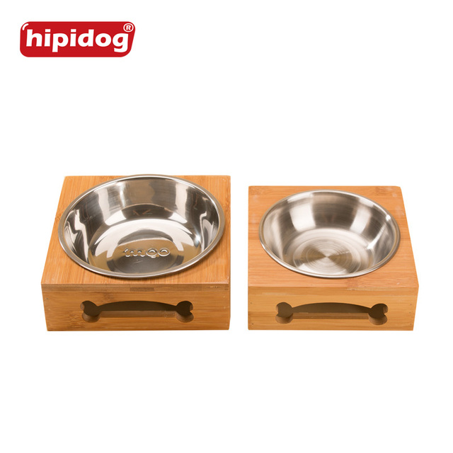 Hipidog Bamboo Stainless Steel Dog Feeder Bowls Two Type Pet Food Water Drink Water Dry Food Dishes Feeder For Cat Puppy Dog
