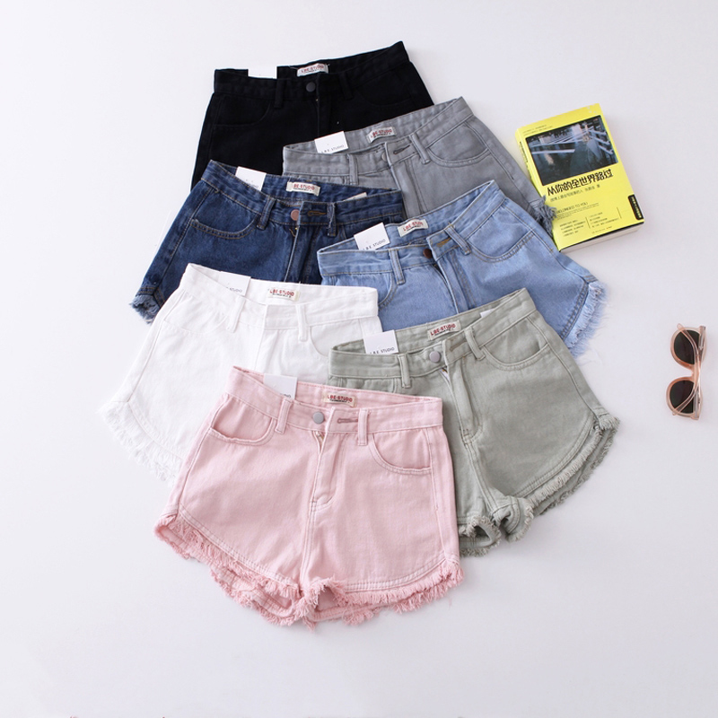 Vintage Fringe Denim   Shorts   Women Casual Pockets Female Jeans   Shorts   Candy Colors 2019 Summer High Waist Slim Hot   Shorts
