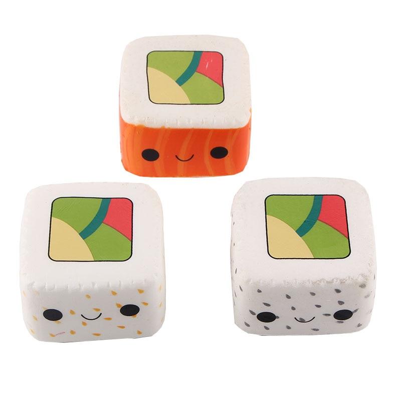 1Pcs Cute Yummy Sushi Squishy Slow Rising Phone Strap 6CM Kawaii Cartoon Face Stretchy Kids Fun Toy Gift
