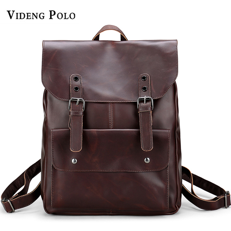 VIDENG POLO Brand Crazy Horse Leather Backpack Men School Bag Casual Travel Shoulder Bag Bagpack 14 Inch Laptop Rucksack mochila vicuna polo men leather usb cable travel laptop backpack with headphone hole school backpack has front pocket bagpack mochila