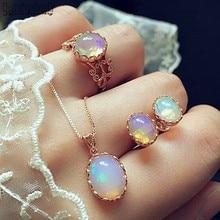 4pcs/ Set Dazzling Gems Trend Jewelry Necklace Earrings Ring Wedding Crystal Sieraden Women Fashion