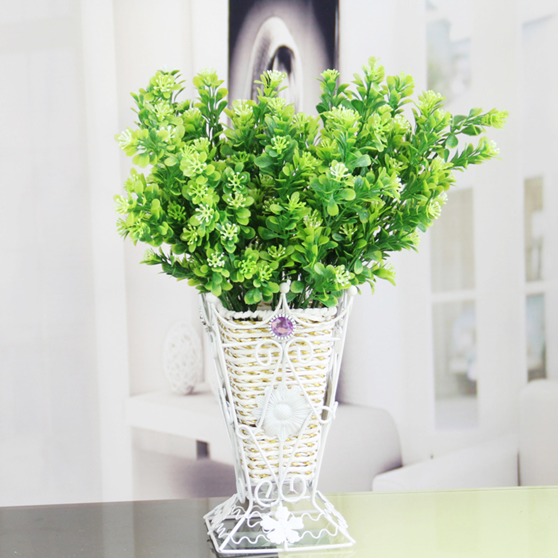 1PC Bouquet Green Artificial Plant Fake Milan Grass Bonsai Decoration Leaf Corner Lawn Decoration Wedding-Decoration