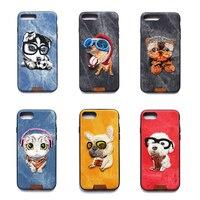 Sevimli Köpek ve Kedi El Yapımı Nakış Denim Shell Kılıf iphone 6 6 s 4.7