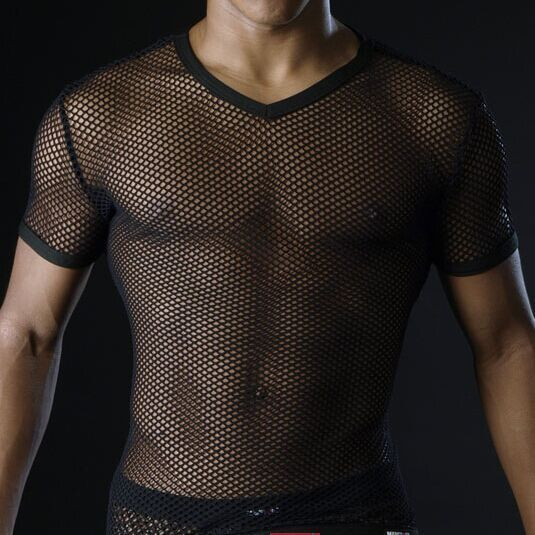 Hot <font><b>Men</b></font> T <font><b>Shirts</b></font> Transparent Mesh See Through Tops Tees <font><b>Sexy</b></font> Man Tshirt V Neck Singlet <font><b>Gay</b></font> Male Casual Clothes T-<font><b>shirt</b></font> Clothing image