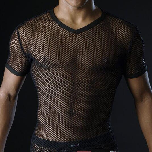 f828e63758431 Los Hombres Calientes T camisas de malla transparente de ver a través de  Tops Tees hombre Sexy camiseta V cuello Camiseta Hombre Gay ropa Casual  ropa de la ...