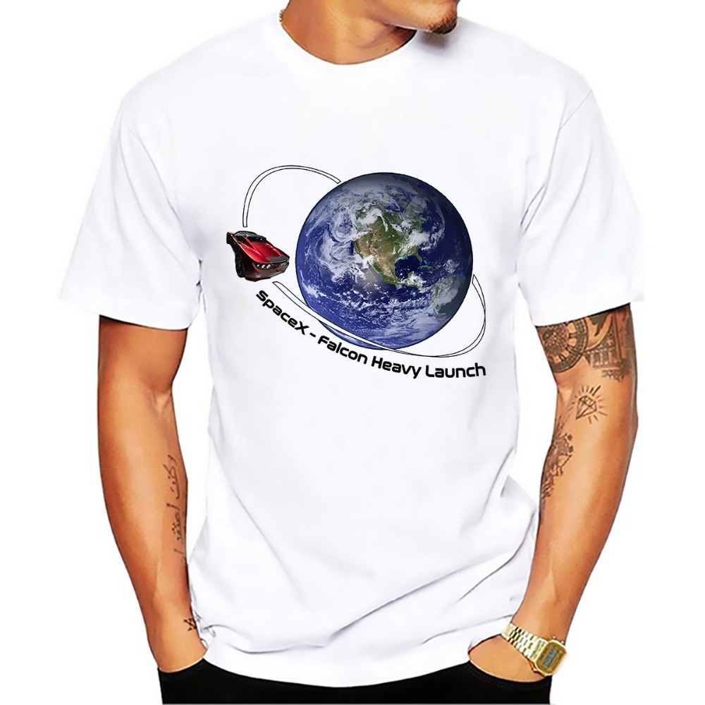 SpaceX Falcon Heavy t-shirt men 2018 new white Casual plus size tee shirt Dont Panic t-shirt no glue print t-shirts