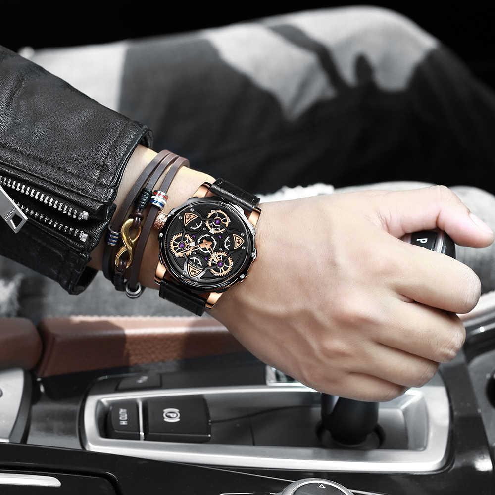 MINI FOCUS Tourbillon montre à Quartz hommes automatique classique bleu Royal en cuir montres à Quartz Reloj Hombre 2019