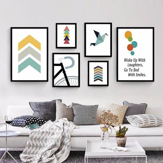 Customization Nordic Moderne Geometrische Farbe Block Fahrrad Kombination  Inspirational Alphabet Ölgemälde Wohnzimmer Decor