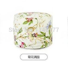 Ywxuege lazy fabric sofa stool chrysanthemum blossom style Home Office circular seating stool washable canvas newspaper