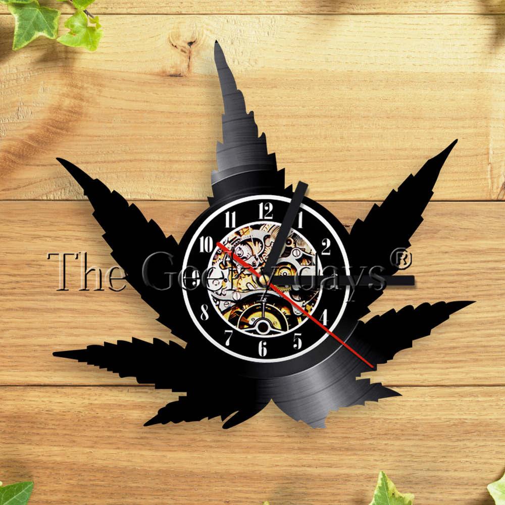 Weed Leaf Wall Clock Vintage Vinyl LP Record Wall Clock Marijuana ...