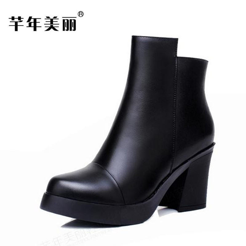 2017 new autumn winter women boots Genuine leather high-heeled boots black waterproof platform Large size 41 42 ankle boots boty 2017 new women autumn winter genuine