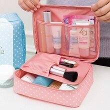 2016 new arrival large capacity cosmetic bag Korean makeup bag dot women handbag portable storage canvas bag big travel bag 1047