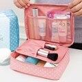 2016 nueva llegada de gran capacidad de bolsa de cosméticos bolsa de maquillaje Coreano punto bolso de las mujeres bolsa de lona bolsa de viaje grande de almacenamiento portátil 1047
