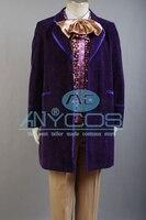 Чарли и шоколадная фабрика 1971 Джонни Депп Вилли Вонка Cosutme фиолетовый форма пальто для Для мужчин Хэллоуин Косплэй костюм