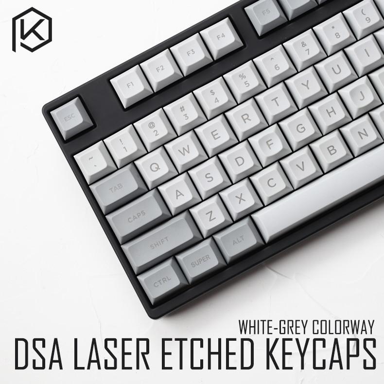 Dsa Pbt Top Printed Legends Granite Grey White Keycaps Laser Etched Gh60 Poker2 87 104 For Mechanical Keyboard