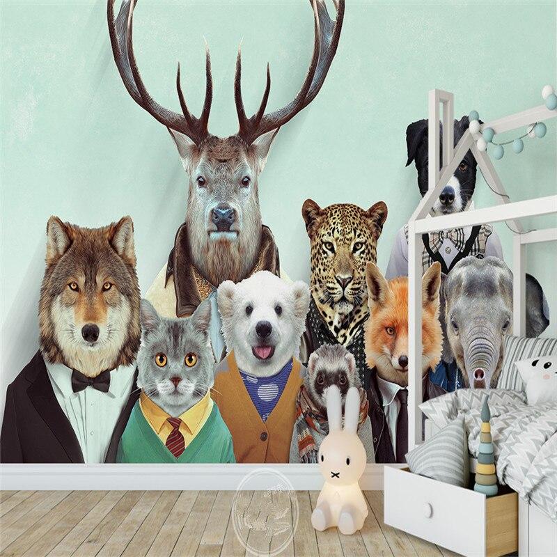 Custom Large 3D Wallpapers Cartoon Dog Cat Animals Murals Kids Walls Papers for Children Room Living Room Home Decor Painting фурминатор для собак короткошерстных пород furminator short hair large dog