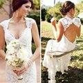 Vestido de noiva curto laço do Vintage de verão estilo romântico vestidos de casamento Sexy Backless da sereia da noiva vestido de casamento