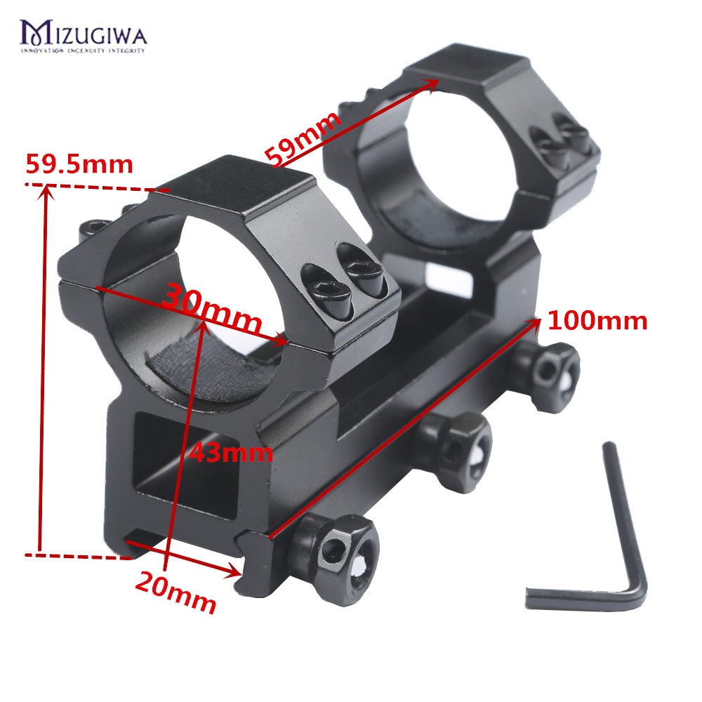 MIZUGIWA Tactical One Piece Flat Top 30mm Double Ring Higher Profile Scope Mount 20mm RIS Rail Picatinny Rail For Airgun Rifle