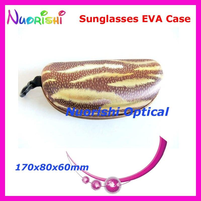 10 шт. большой Размеры хороший 4 цвета узор молния глаз Очки Солнцезащитные очки для женщин очки случай Ева коробка ml022 - Цвет: Brown