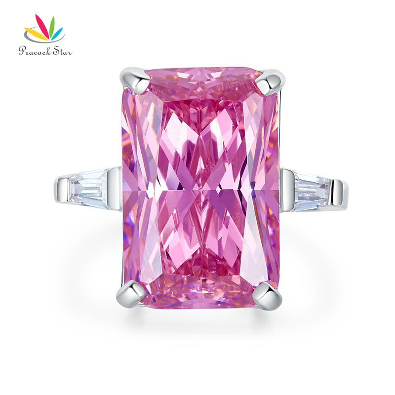 Peacock Star 8.5 Carat Pink Created Diamante Stone Solid 925 Sterling Silver Ring Party Luxury Jewelry CFR8307