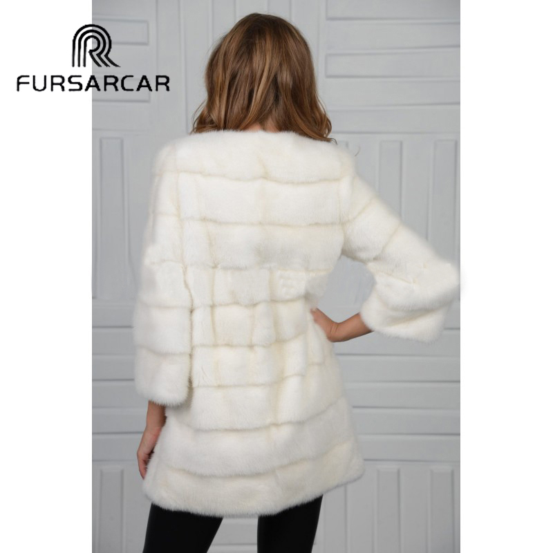 Fourrure Mode De Pleine Pelt Style cou Veste Réel Véritable Fursarcar White Manteau Femmes D'o Vison Hiver qgtOB4Wnv