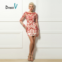 2017 Delicated Short Cocktail Dresses Sexy Sheath Red Fine Beadings Scoop Long Sleeves Vestidos De Cocktail Wedding Party Dress
