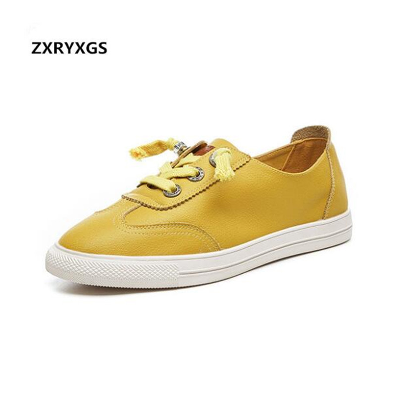 2019 new spring light soft comfortable genuine leather shoes flat was thin casual shoes women sneakers