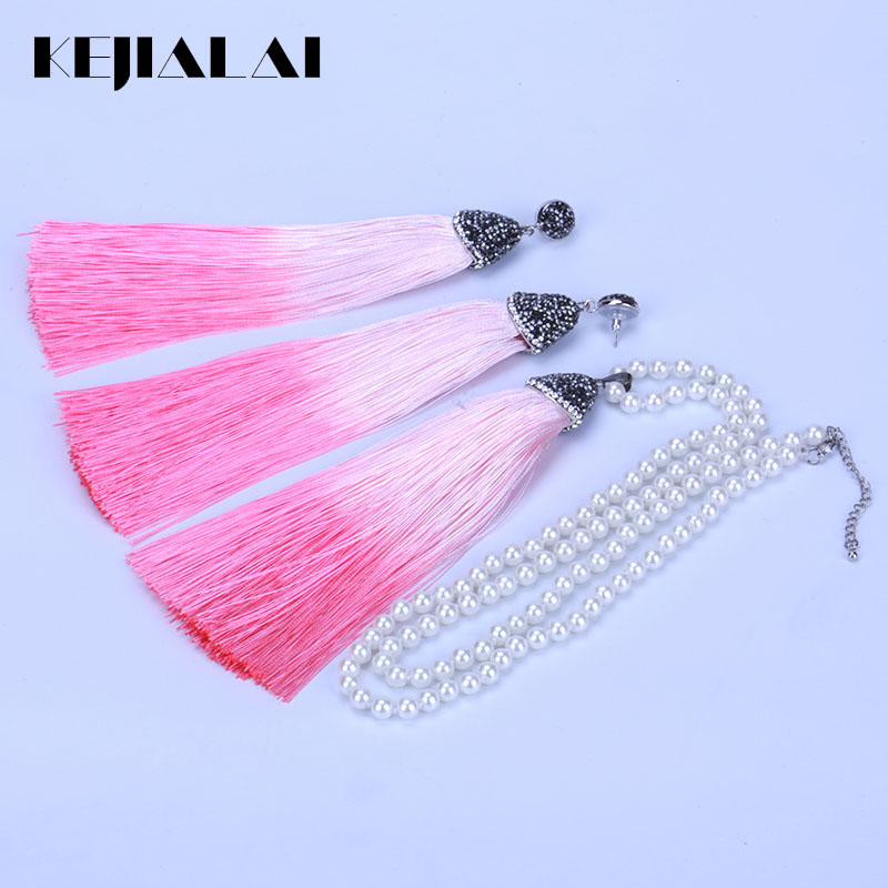 KEJIALAI Jewelry Sets 2018 New Fashion Female 7 Colors Pearl Tassel Personality Necklace And Earrings Luxury Jewelry Sets 210