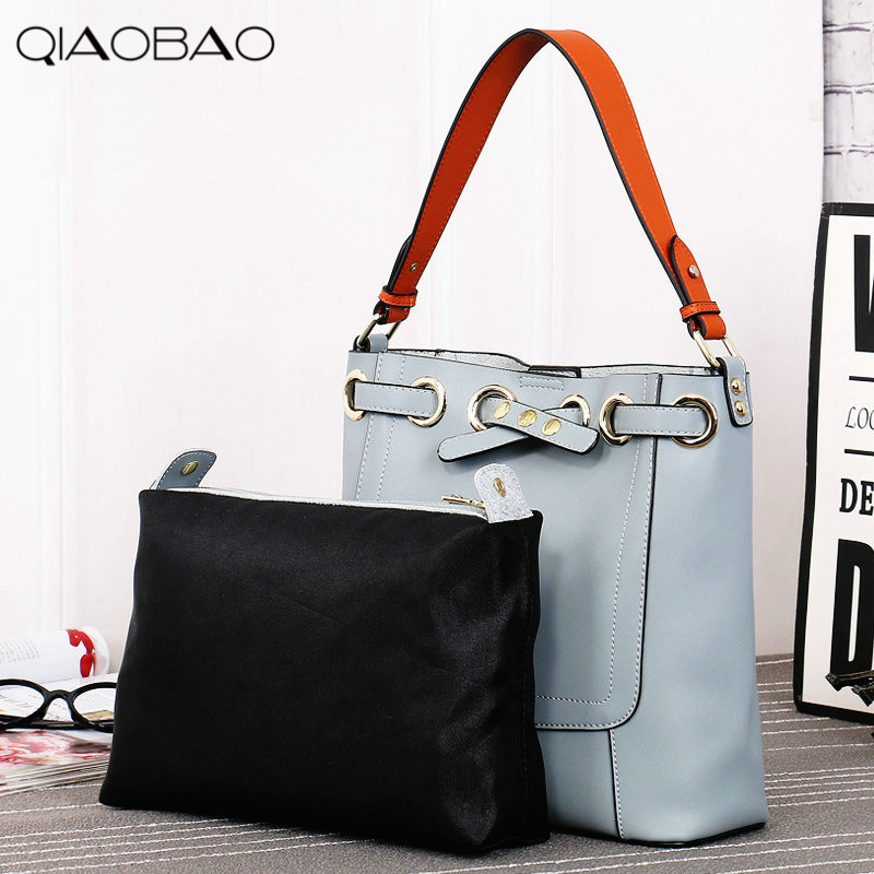 QIAOBAO 100% Natural Leather handbags 2018 new women's shoulder bag Korean women's leather oblique cross bag Composite bag 100% natural