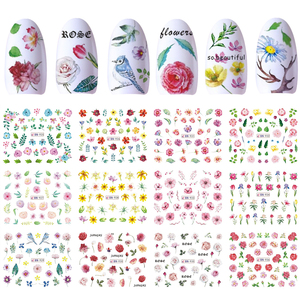 Image 4 - 12 Designs Nail Polish Sticker Water Decal Flamingo Flowers Harajuku Owl Transfer Decoration Manicure Tattoo Tips JIBN913 984 1