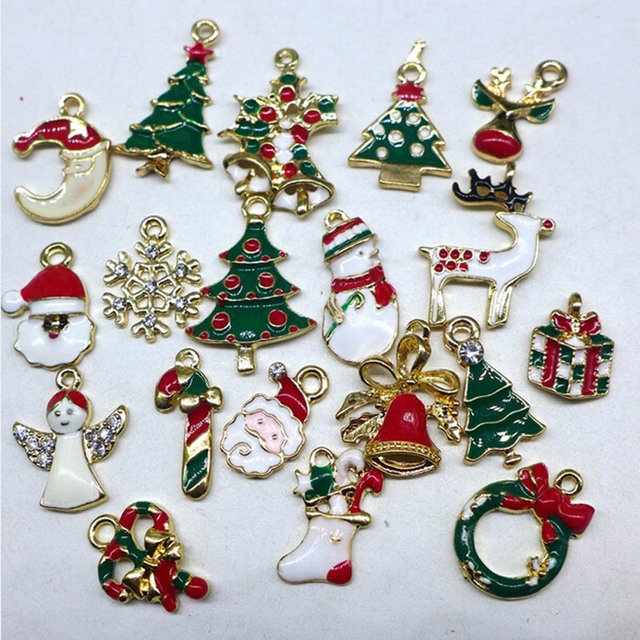 Us 6 99 Metal Alloy Mix Christmas Sets Charm For Holiday Christmas Santa Claus Tree Ornaments Decoration Diy Festival Party Home Decor In Pendant