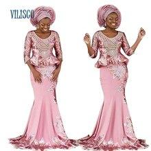 Базен Африки кружева вышитые платья для Для женщин 2018 вечерние плюс Размеры Для женщин Африканский Костюмы топ и юбка комплекты Vestidos XG004