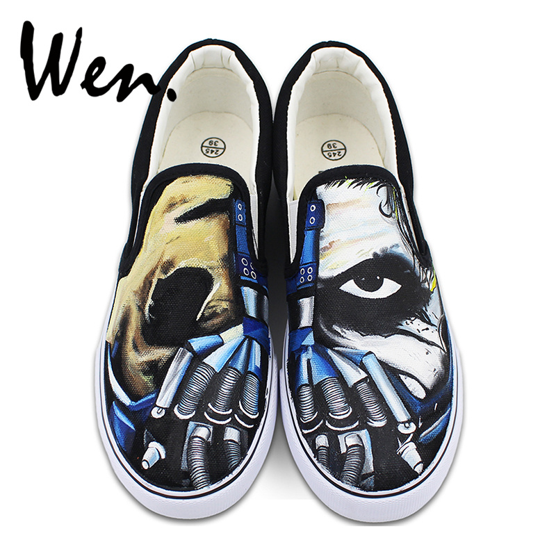 Original Design Canvas Slip on Shoes Hand Painted Creepy Half Face Mask Machine Hand Flats Sneakers for Men Women Presents wen original design colorful lamp bulb hand painted shoes black slip on canvas sneakers for man woman s gifts presents