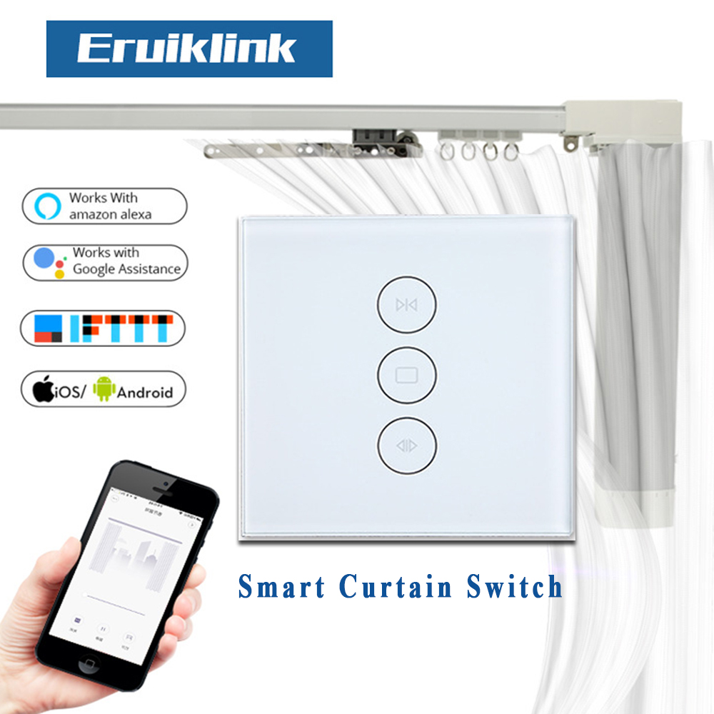WiFi Smart Curtain Switch Touch Panel Tuya App Remote Control Electrical Roller Shutter Blind Works With Alexa And Google Home