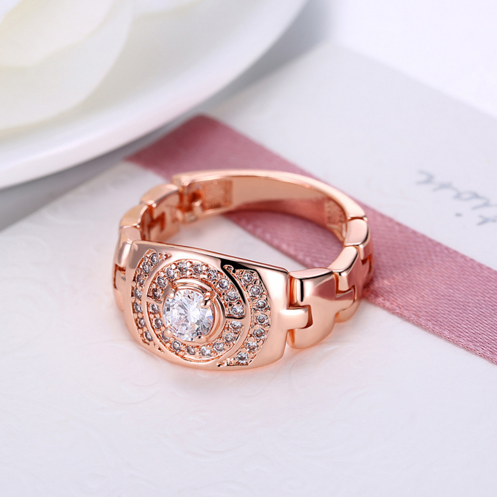 ERLUER Fashion Watch Model Chain Rings For Women White Rose Gold ...