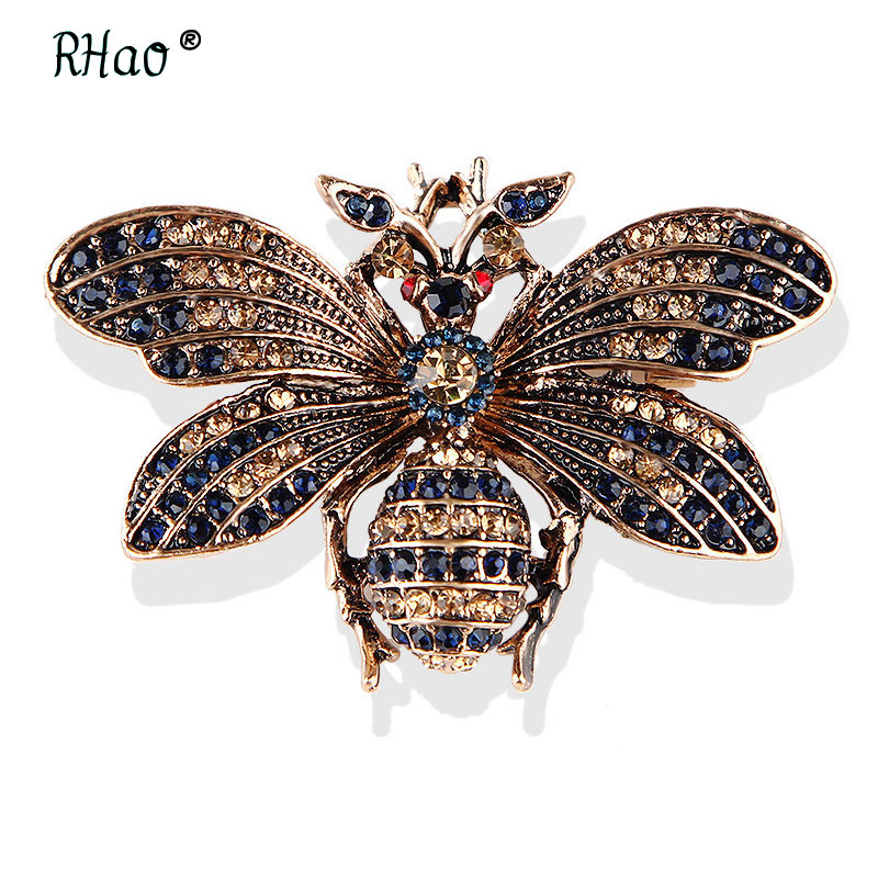 Little Bee Insect Brooch Pin Rhinestone Crystal Brooch Pins Jewelry Gift Chic YR