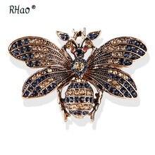 Rhao унисекс летающая Бриллиантовая ретро брошь в виде пчелы