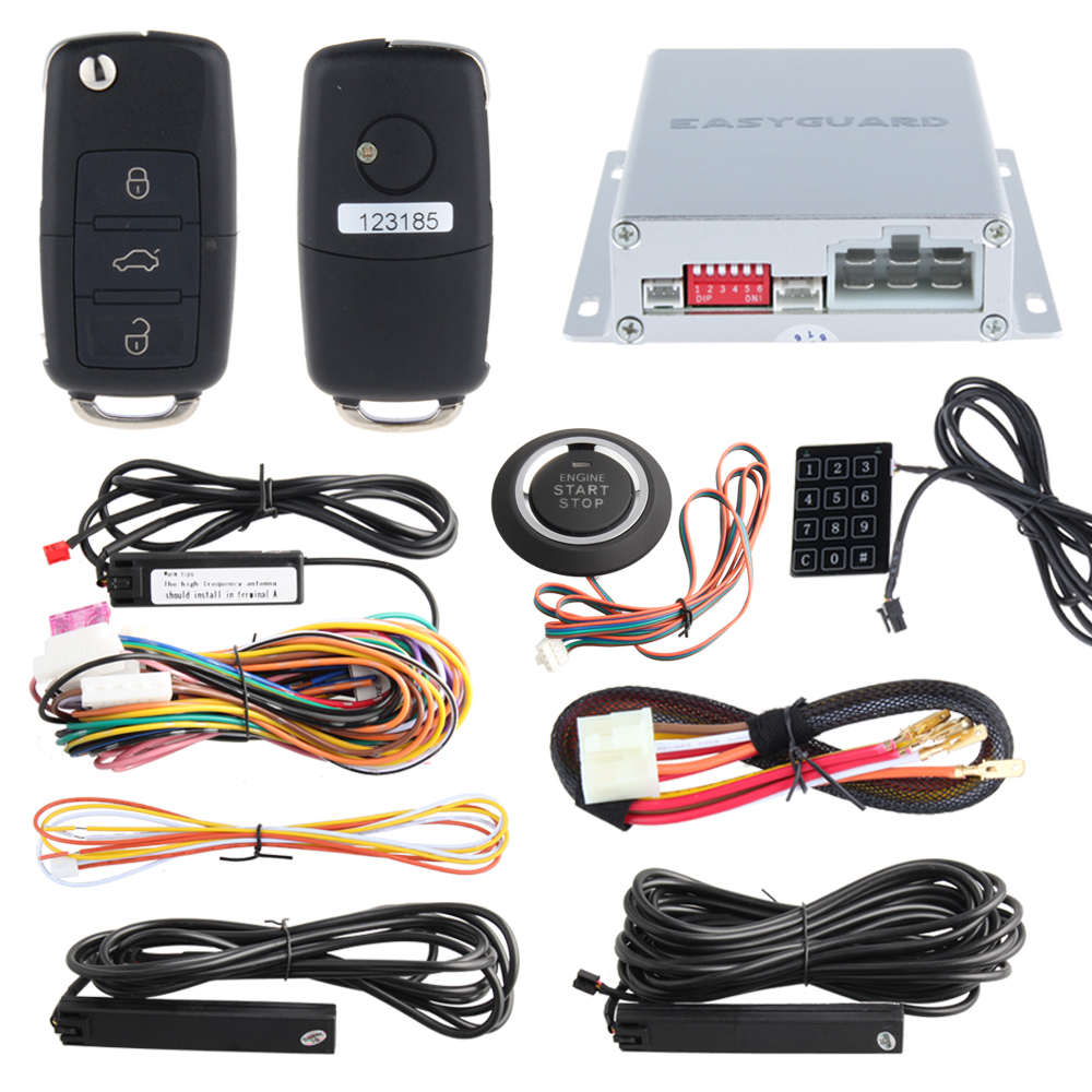 PKE car alarm system with remote engine start/ stop, remote trunk release, Touch password entry and code learning easyguard pke car alarm system remote engine start stop shock sensor push button start stop window rise up automatically