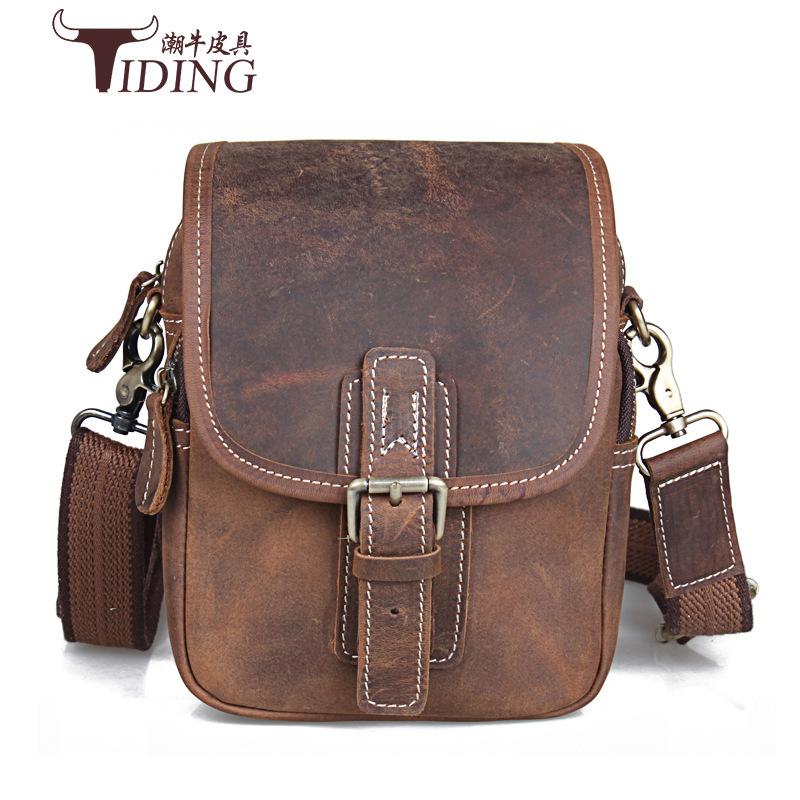 TIDING Luxury Genuine Crazy Horse Leather Men Messenger Bag Shoulder Bag Travel Business Retro Cowhide Leather Crossbody Bag 2015 free shipping 3 6m combo carbon fishing rod sections carp telescopic fishing rod spinning reel casting rod combo set