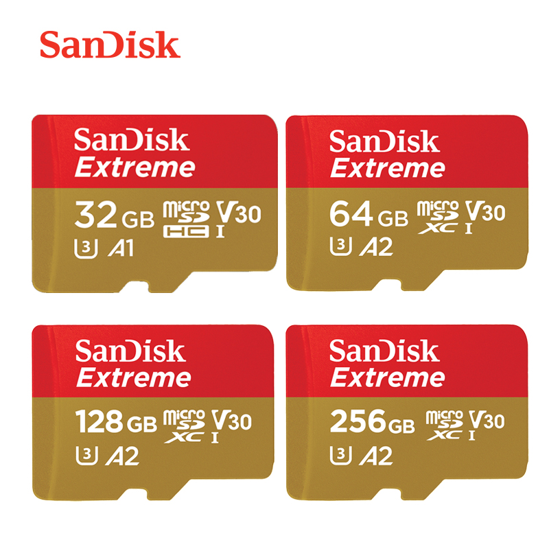 Us 103 43 Offnew Arrival Sandisk Extreme Micro Sd Card U3 V30 A2 64gb 128gb 256gb Mcrosd Original Tf Card 32gb A1 Flash Memory Card For Drone In