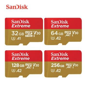 New Arrival Sandisk Extreme Micro SD Card U3 V30 A2 64GB 128GB 256GB mcrosd Original TF Card 32GB A1 flash Memory Card for Drone