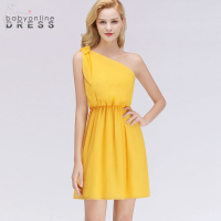 Babyonline Dress Sleeveless A Line Cocktail Dresses For Party Sexy One Shoulder Knee Length Backless Short Yellow Dress Cocktail