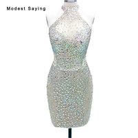 Real Photo Sexy Champagne High Neck Short Cocktail Dresses 2017 with Rhinestone Girls Mini Party Prom Gowns vestidos de coctel