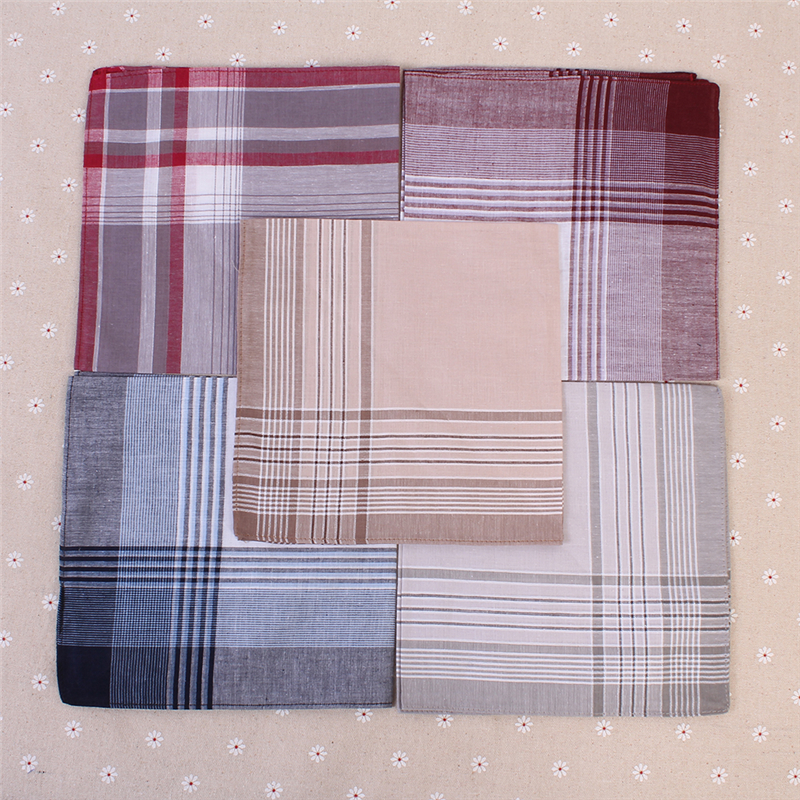 Image 4 - 5Pcs/lot Plaid Stripe Handkerchiefs for Men Classic Business Style Pocket Hanky Handkerchiefs Pocket 100% Cotton Chest Towel-in Handkerchief Towels from Home & Garden