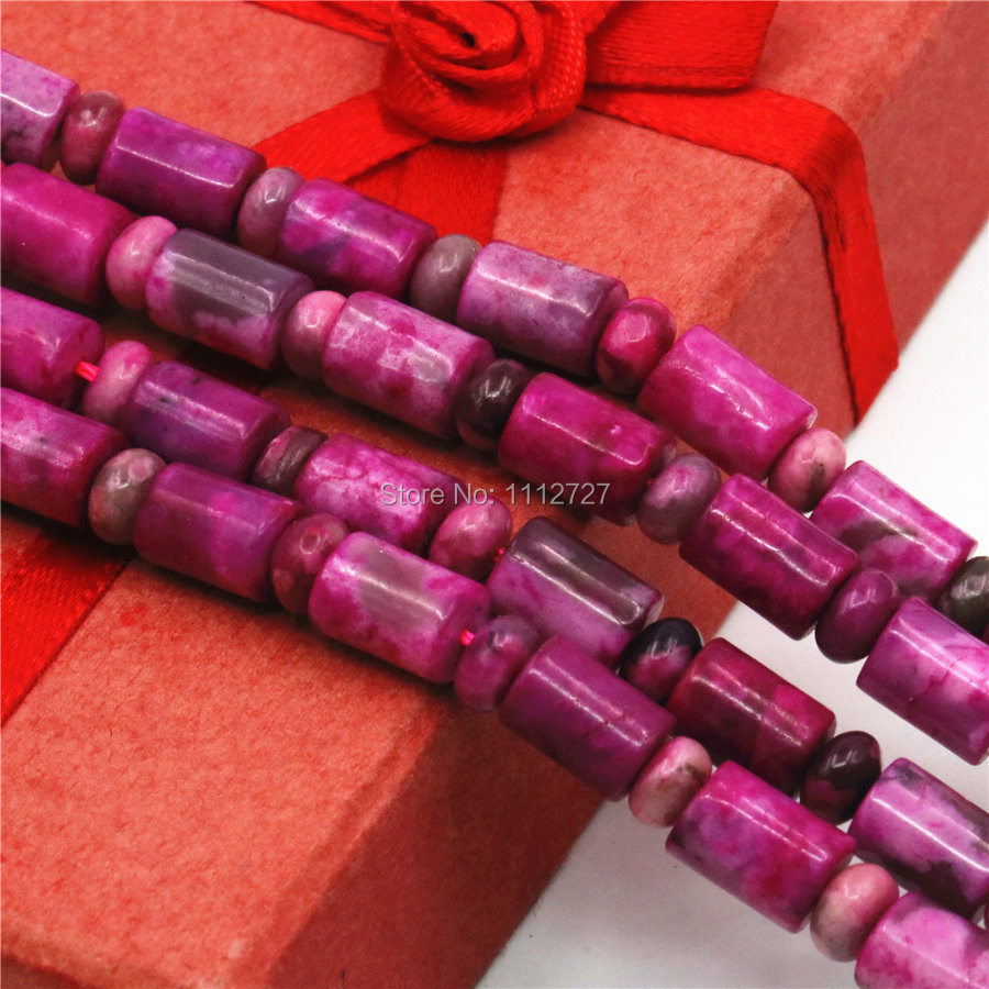 6x8mm Natural Accessories Rose Crazy Lace Carnelian Tube DIY Beads Loose Semi Finished Stones 15inch Jewelry Making Grils Gifts