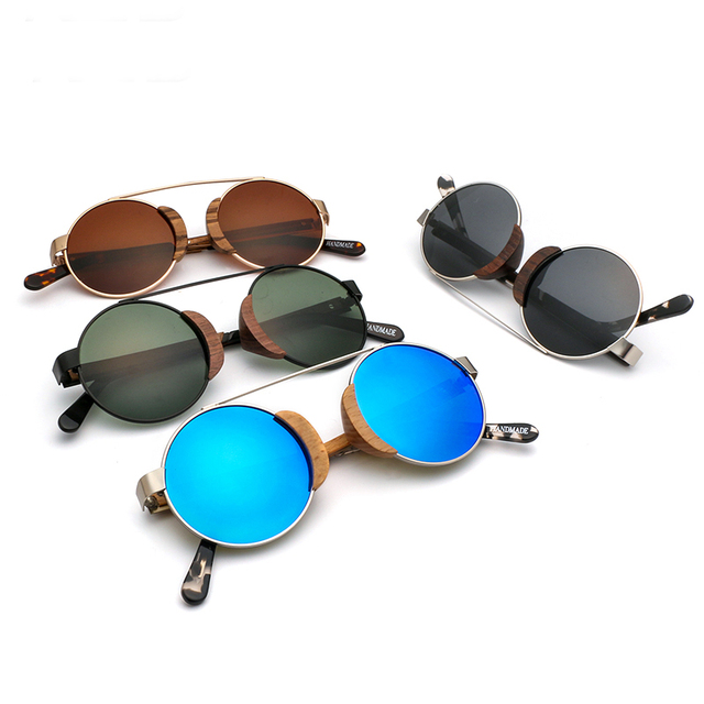 Unisex Handmade Round Wooden Sunglasses