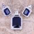 Lindo Azul Safira Criado CZ Branco Brincos Colar de Pingente de Prata Jóias Define S0760