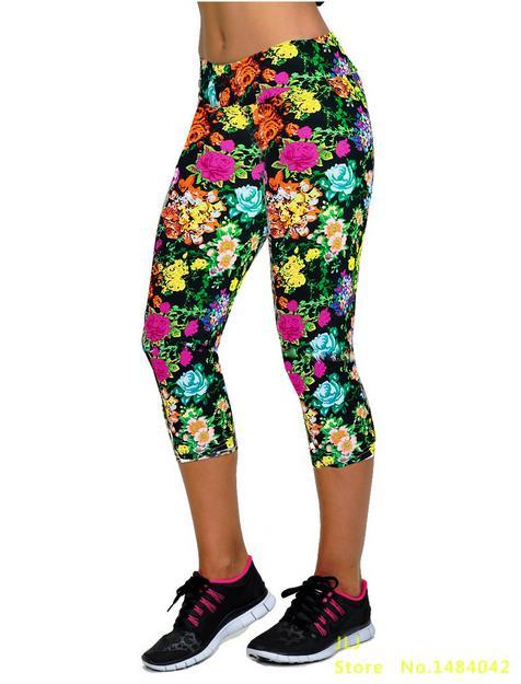 Новинка, 14 цветов, летние женские модные трикотажные хлопковые леггинсы на талии с принтом, леггинсы на талии, семь точек - Цвет: K058 NO 10