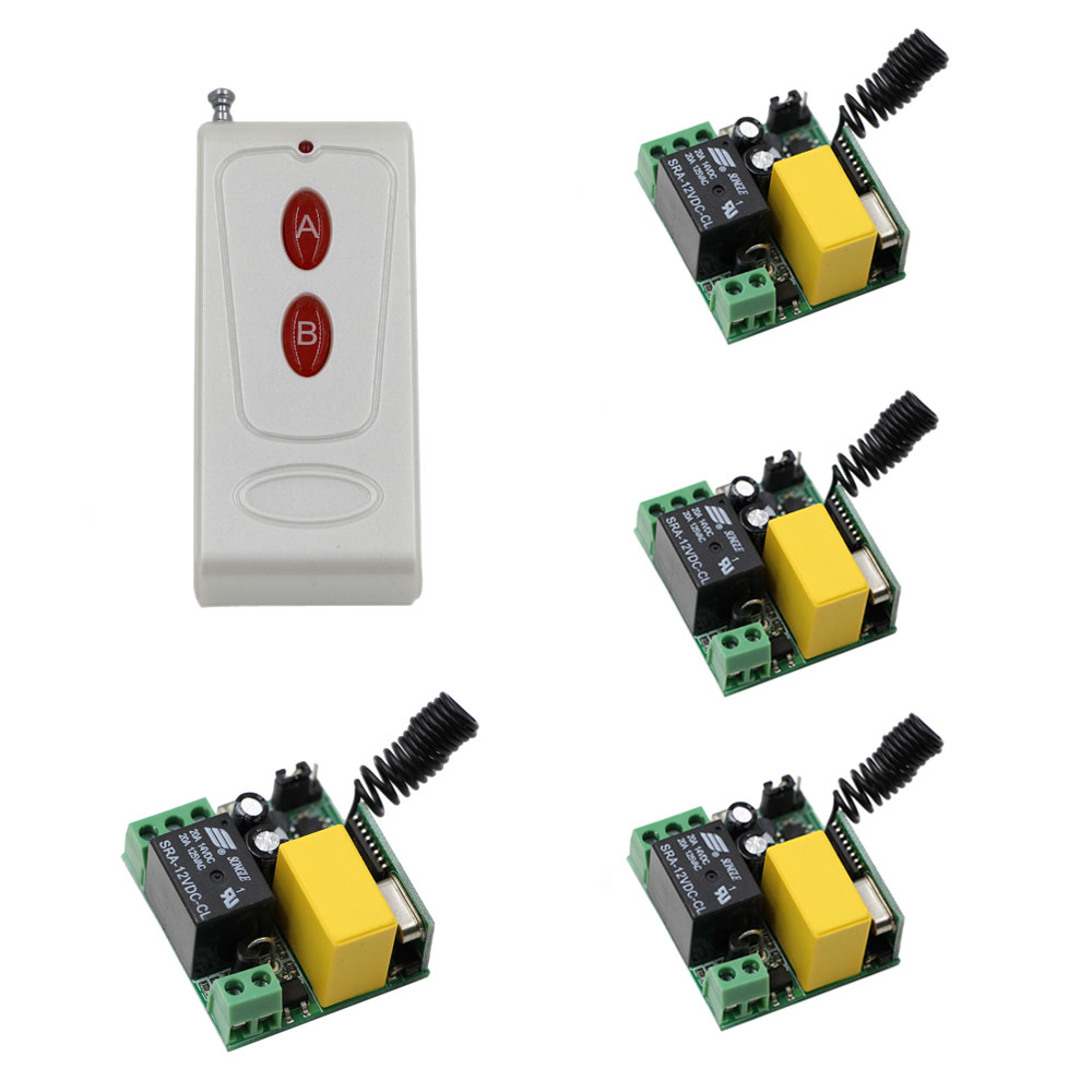 New AC220V 1CH RF Wireless Remote Control Switch System Transmitter with Two-button & 4pcs Receiver Smart Home Switch 315/433Mhz new design wireless ac220v remote control switch with manual button receiver for smart home 315 433mhz free shipping