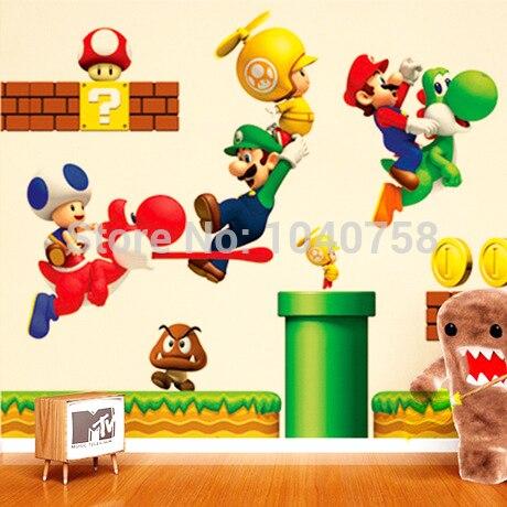 super mario bros dibujos animados pegatinas de pared desmontable para nios del beb nios decoracin